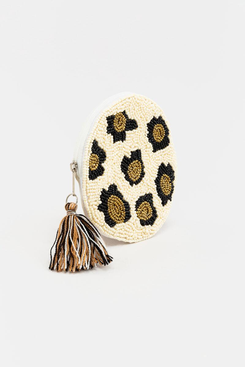 Lydia Round Beaded Pouch- Leopard 3