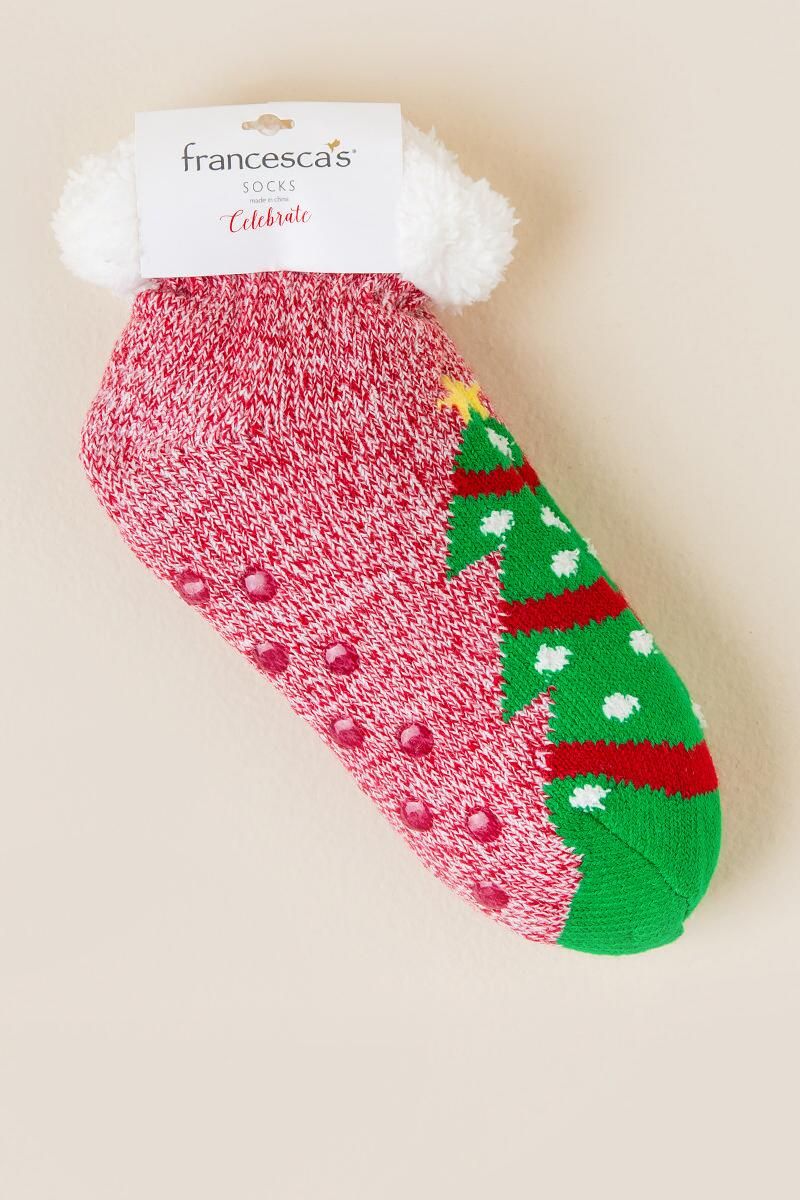 Celebrate Christmas Tree Slipper Socks-  red-cl