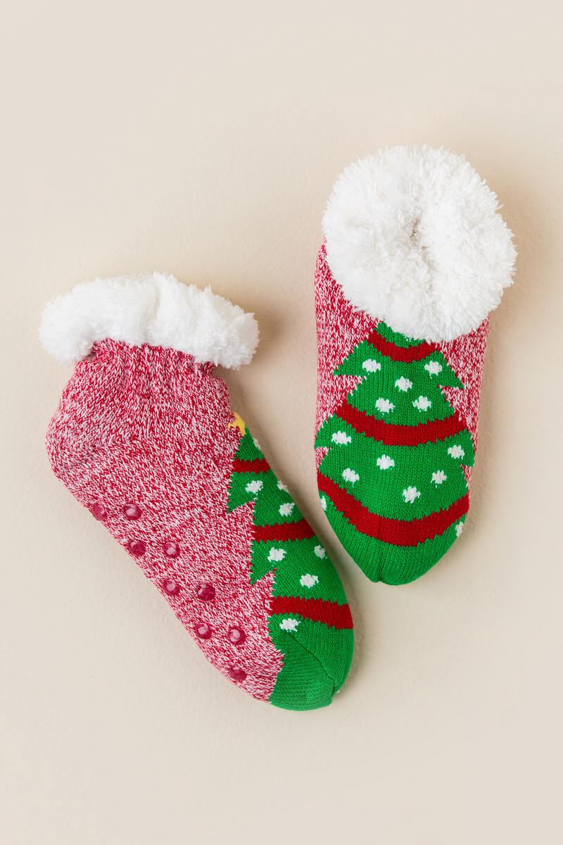 Celebrate Christmas Tree Slipper Socks-  red-clalternate