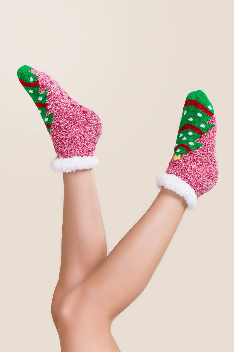 Celebrate Christmas Tree Slipper Socks-  red-clmodel