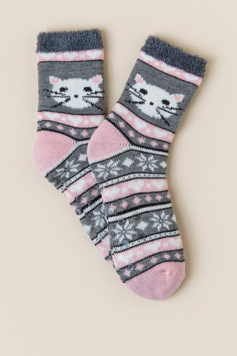 Love Cat Slipper Socks-  gray-cl