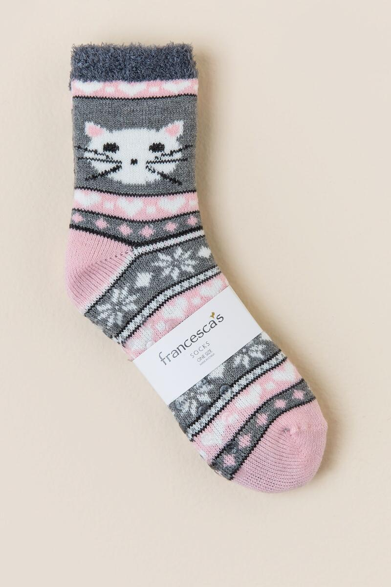 Love Cat Slipper Socks-  gray-clalternate