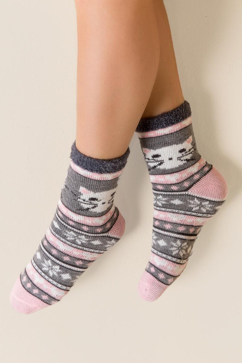 Love Cat Slipper Socks-  gray-clmodel