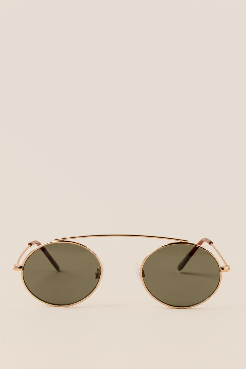 Mina Round Sunglasses-  gold-clfront