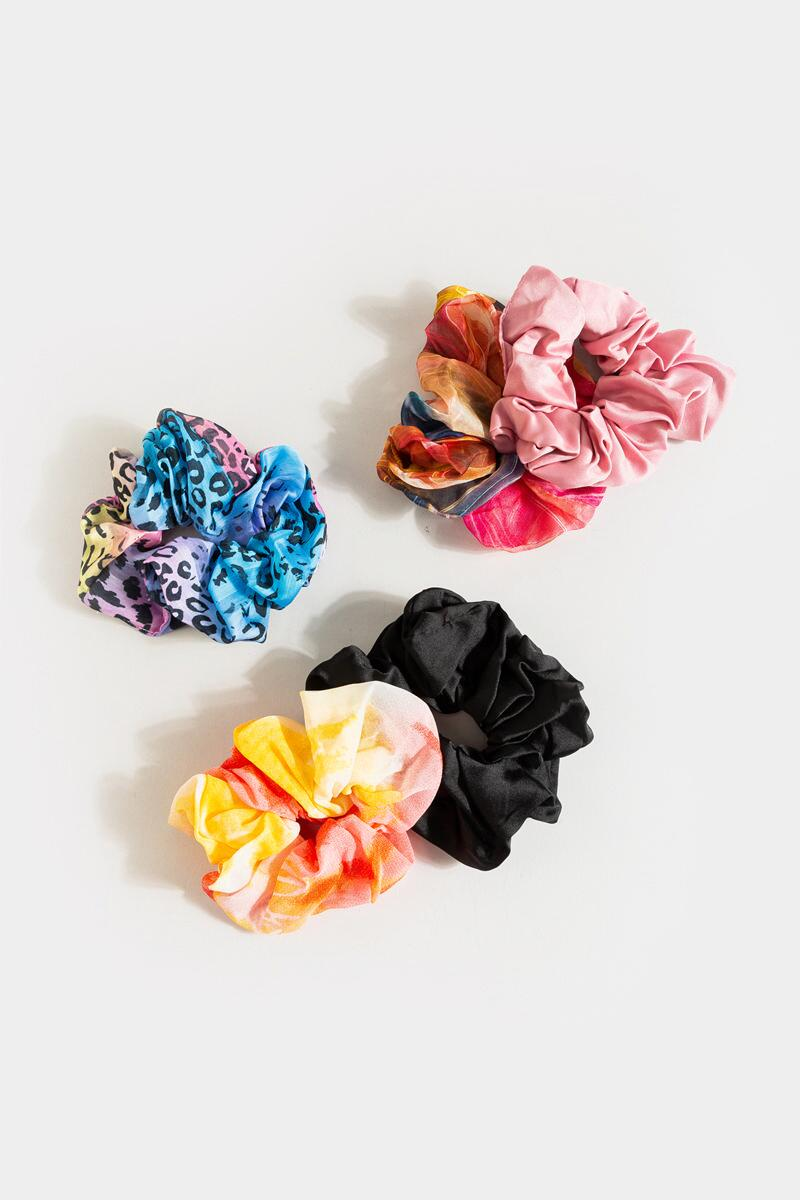 Emma Multicolored Scrunchies- Pink 3