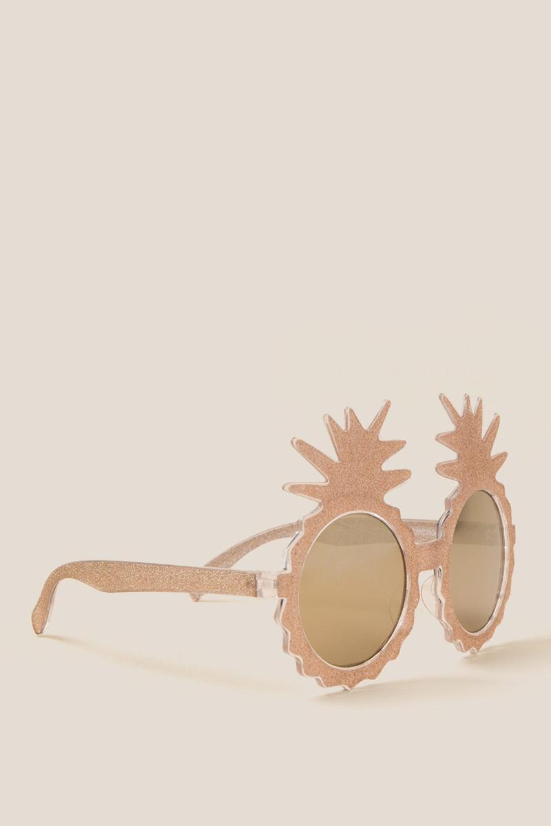 Kiki Gold Glitter Pineapple Sunglasses-  gold-cl