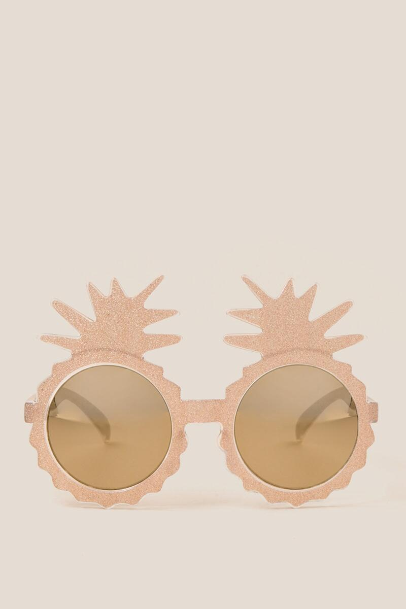 Kiki Gold Glitter Pineapple Sunglasses-  gold-cl2