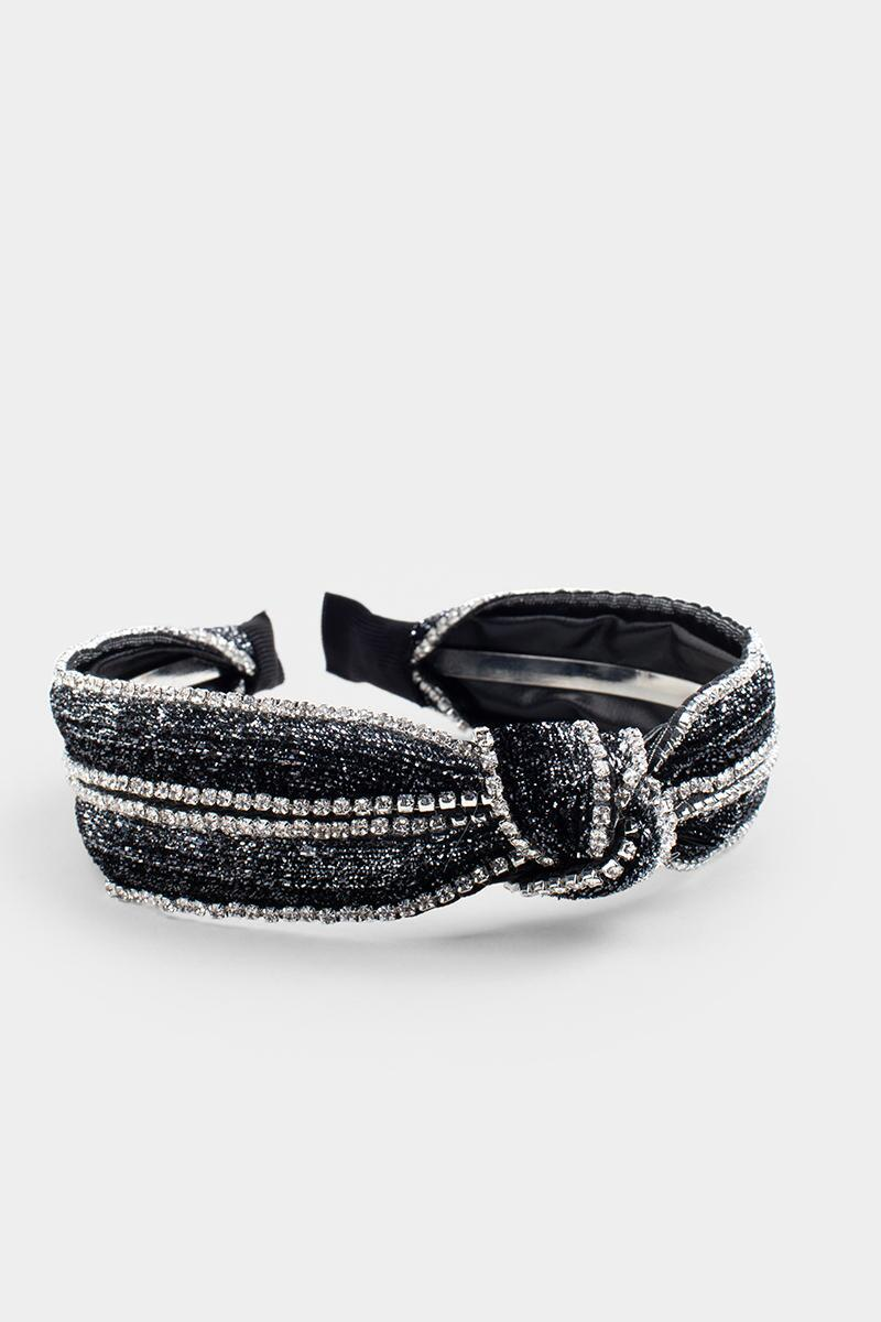Kylie Cupchain Top Knot Headband-  blk-cl3