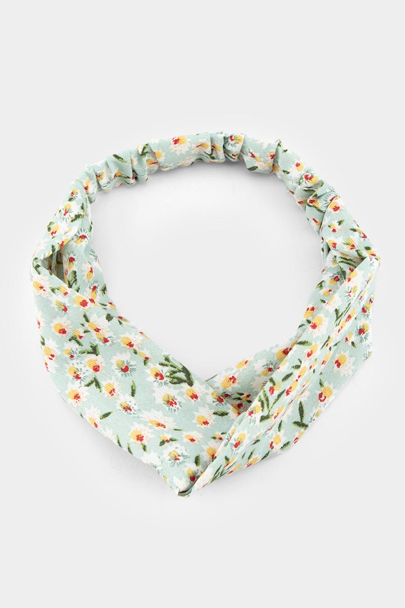Kelby Mini Floral Headwrap-  mint-cl
