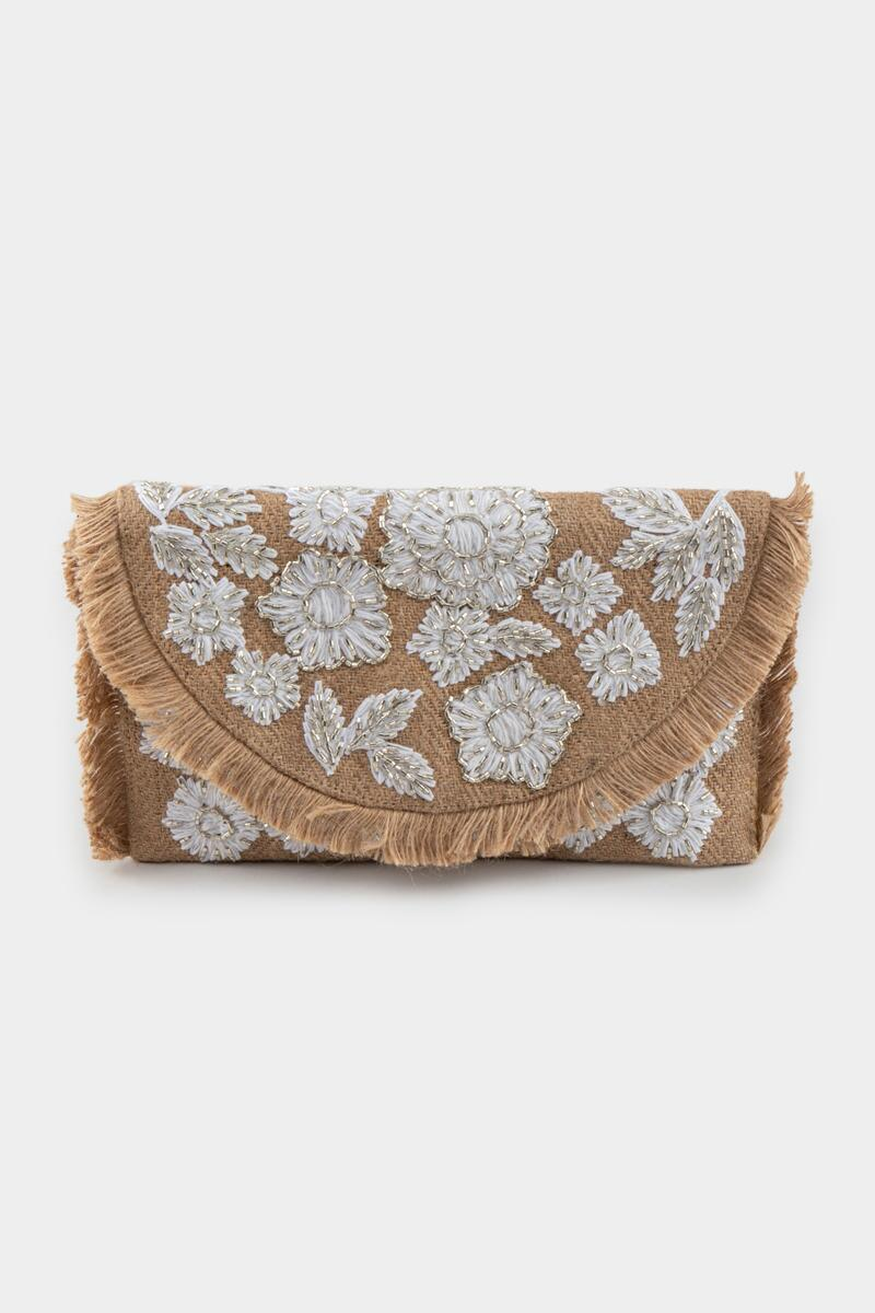 Amina Embroidered Jute Clutch- Natural