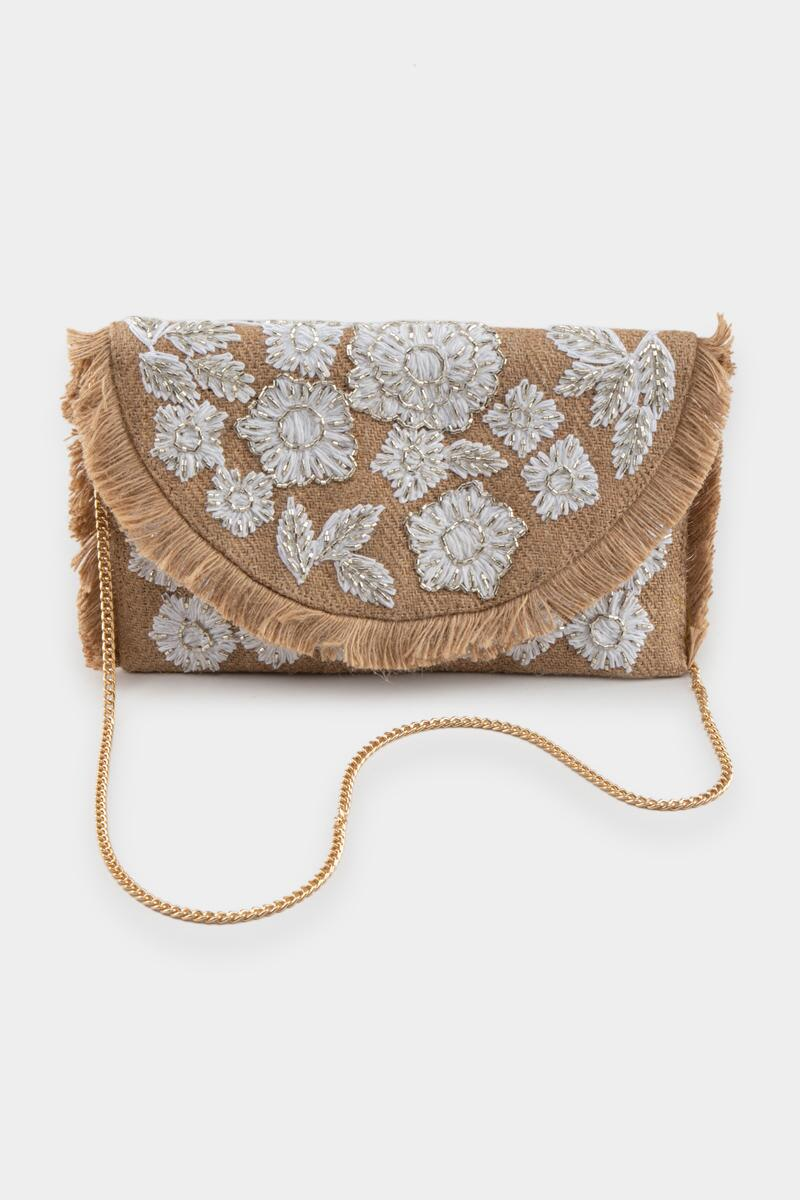 Amina Embroidered Jute Clutch- Natural 3