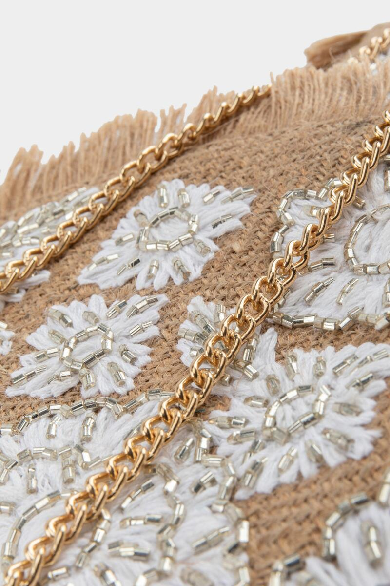 Amina Embroidered Jute Clutch- Natural 4