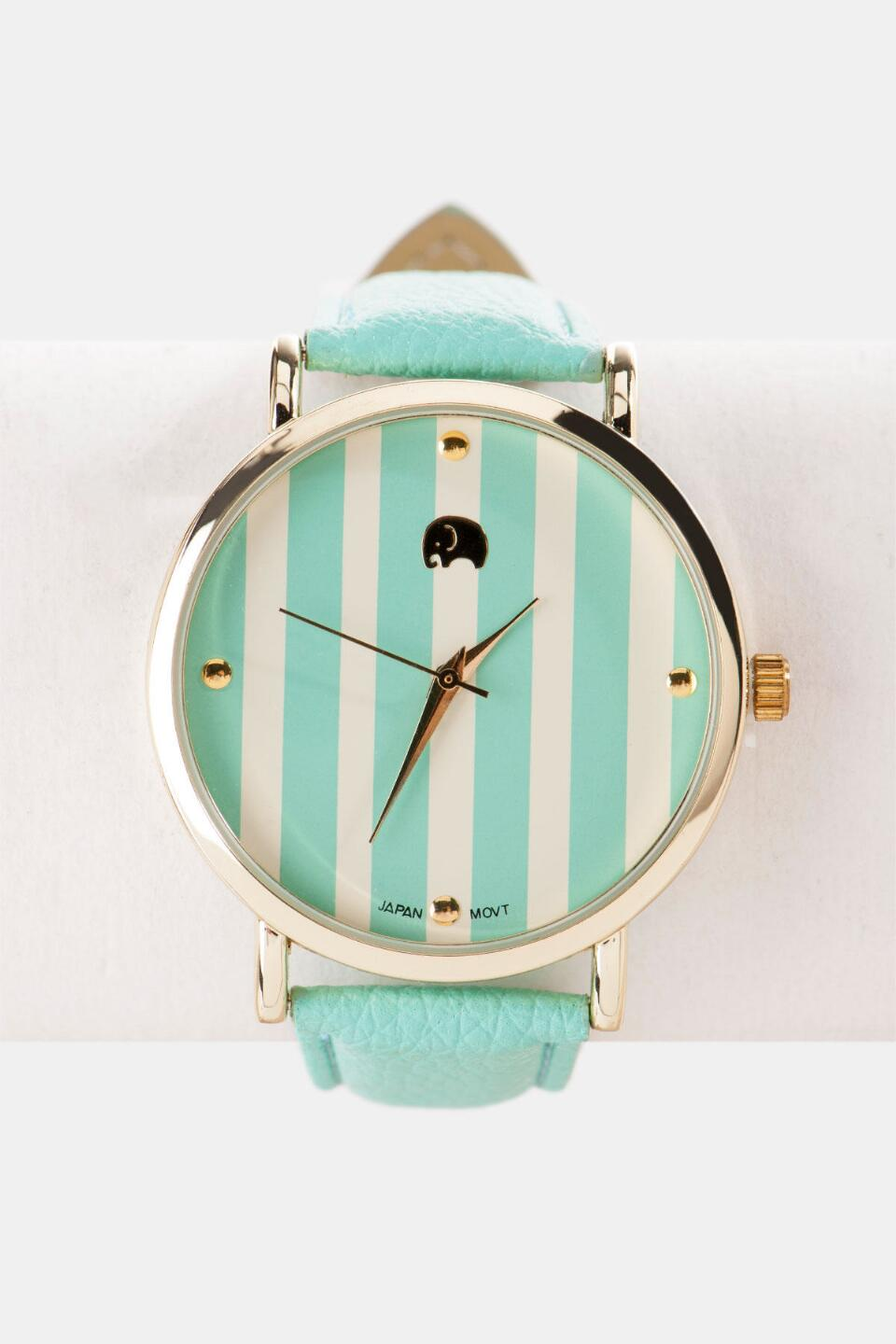 Beverly Hills Striped Watch in Mint-  mint-cl