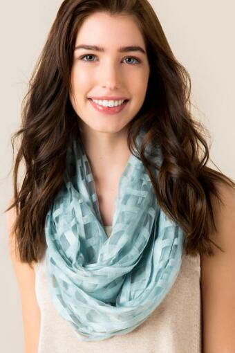 Clara Sheer Square Pattern Loop Scarf