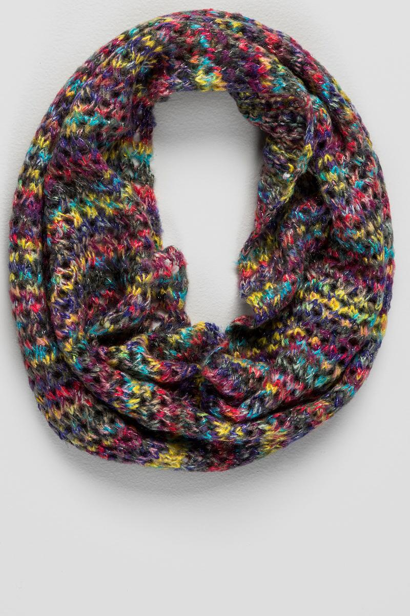 Abalone Knit Loop Scarf-  multi-cl