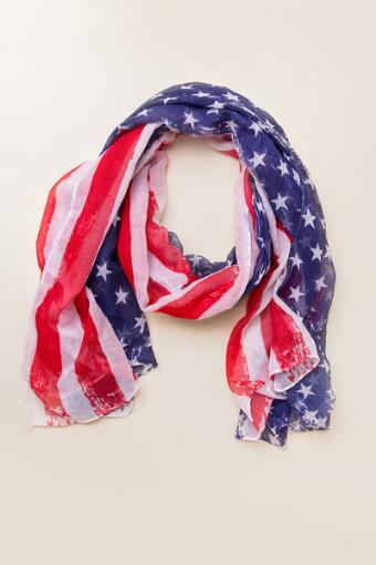 Americana Distressed Flag Scarf