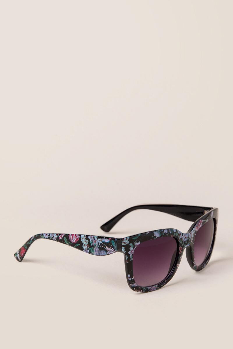 Rose Floral New Classic Sunglasses-  blk-cl