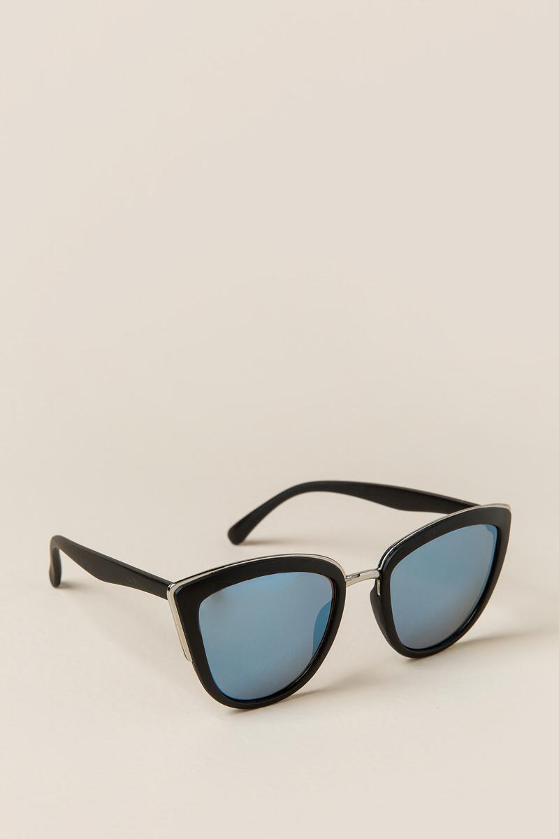 Zoe Mirrored Cat Eye Sunglasses-  blk-cl