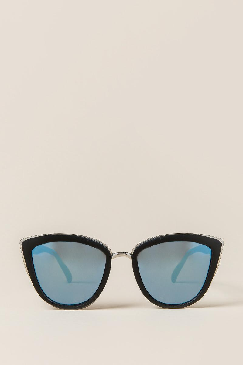 Zoe Mirrored Cat Eye Sunglasses-  blk-clfront