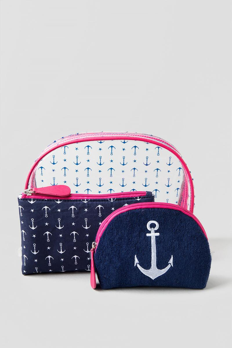 Summer Cosmetic Bag with Anchors