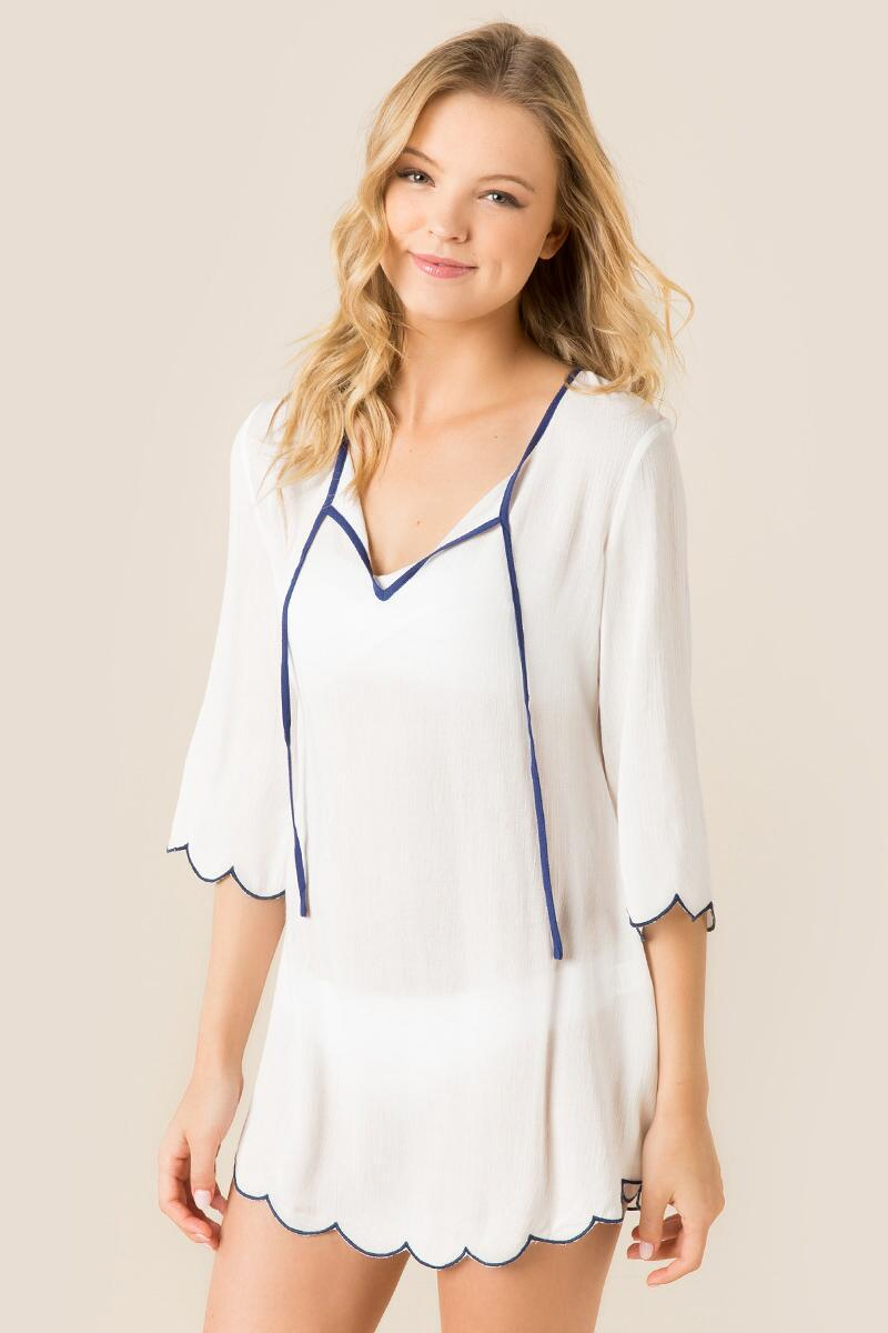 Susannah Scalloped Swim Cover-Up-  white-cl