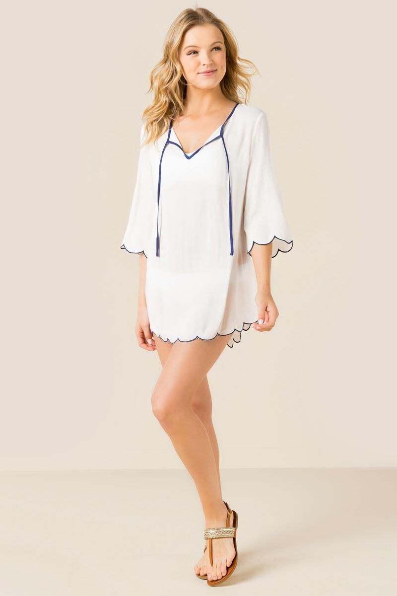 Susannah Scalloped Swim Cover-Up-  white-clmodel
