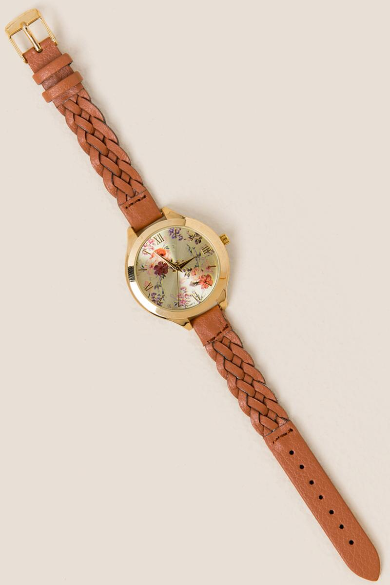 Antonella Floral Braided Watch-  cognc-cl