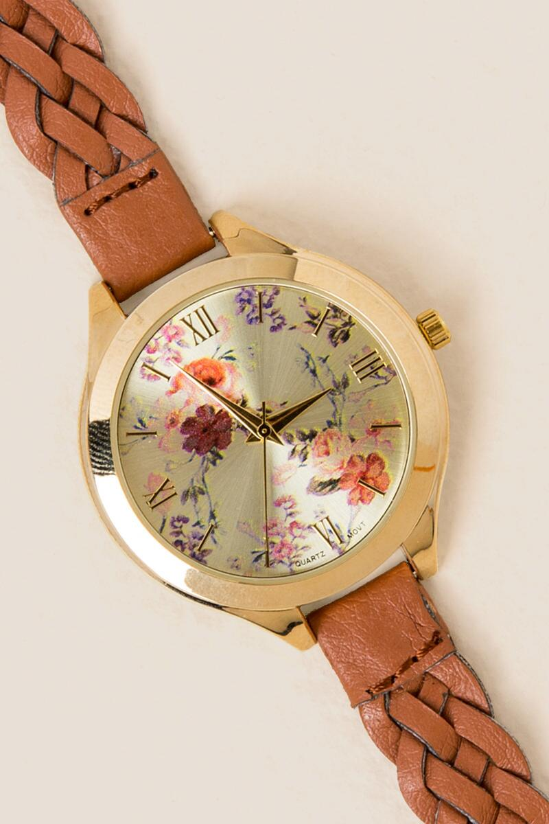 Antonella Floral Braided Watch-  cognc-clalternate