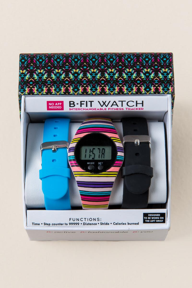 Erika Striped B-Fit Boxed Watch-  npink-cl