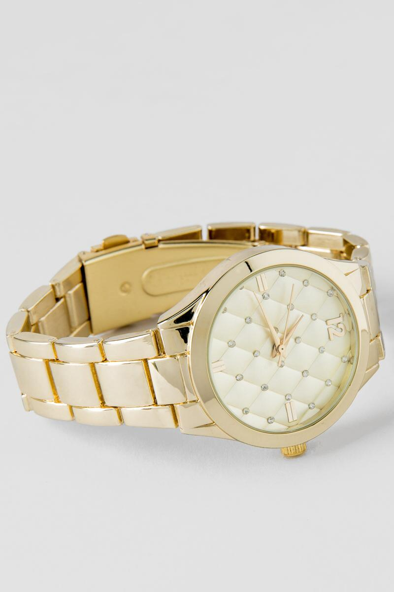 Tarrell Quilted Face Watch in Gold-  gold-cl