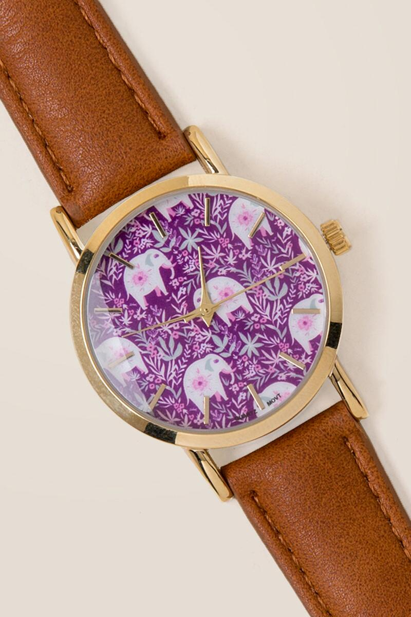 Nixie Folk Tales Floral Elephant Watch