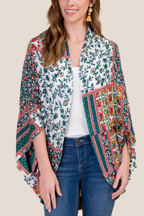 Ainsley Patchwork Floral Ruana