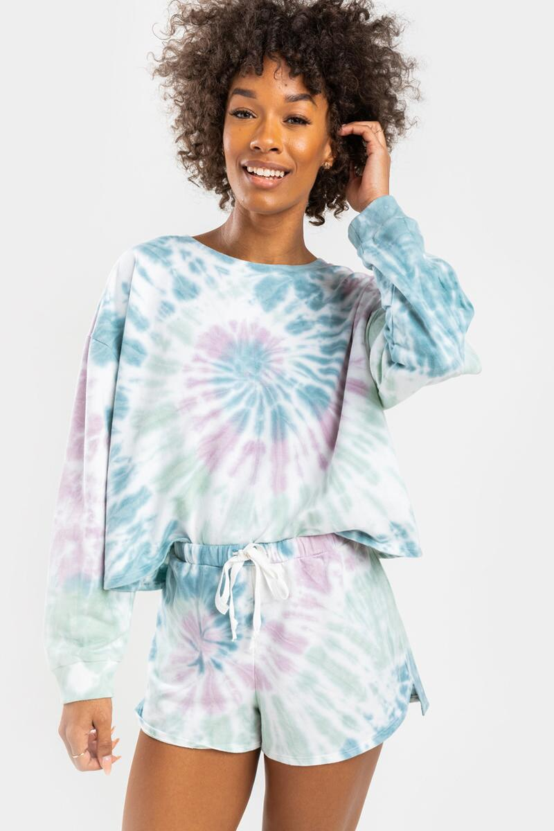 Gracelyn Tie-Dye Lounge Sweat Shorts