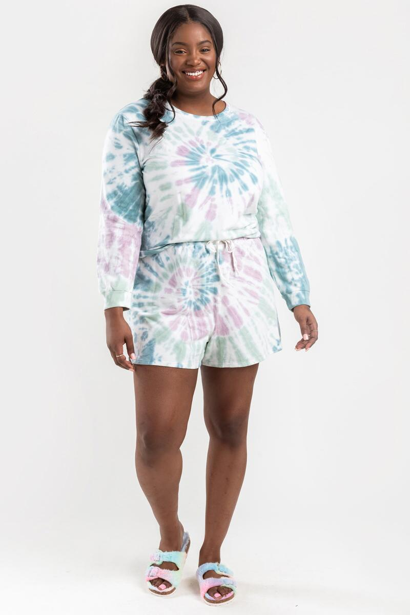 Gracelyn Tie-Dye Lounge Sweat Shorts- Multi 6