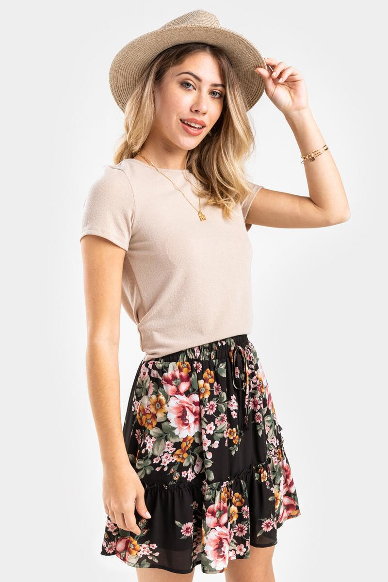 Raleigh Floral Mini Skirt-  blk-cl