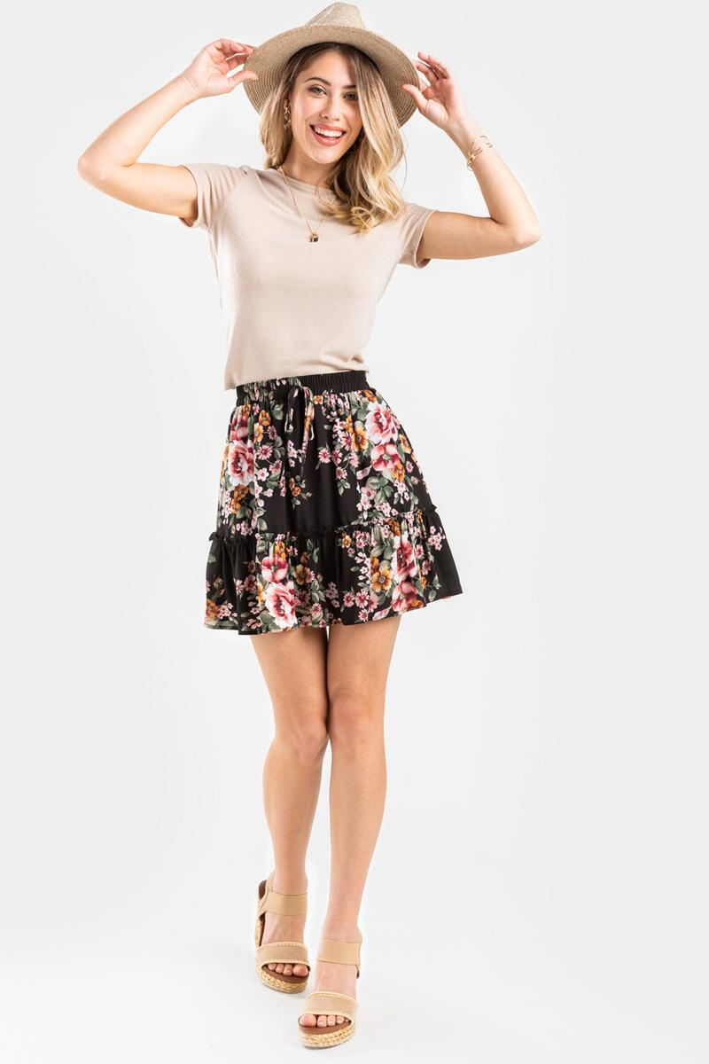 Raleigh Floral Mini Skirt-  blk-cl3