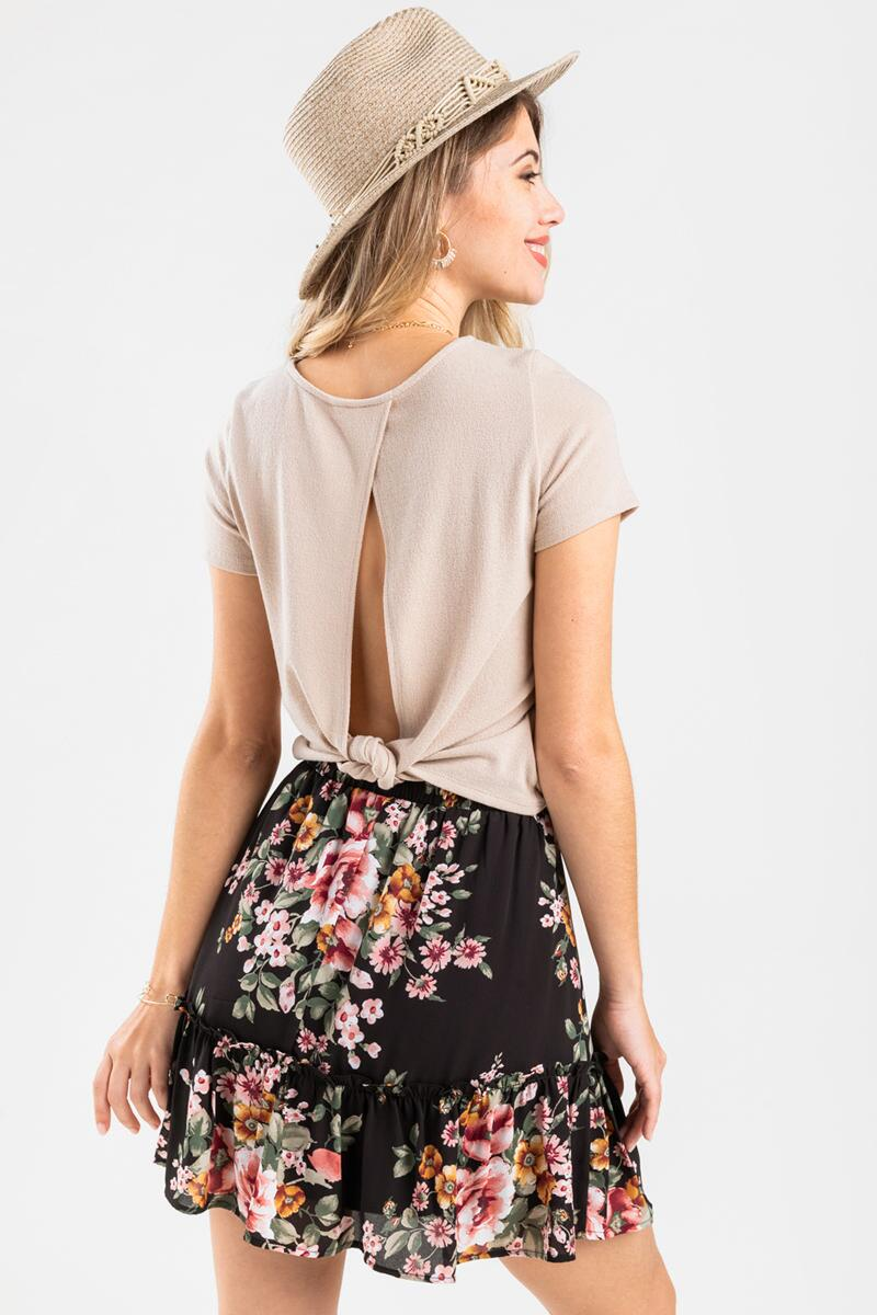 Raleigh Floral Mini Skirt-  blk-cl4