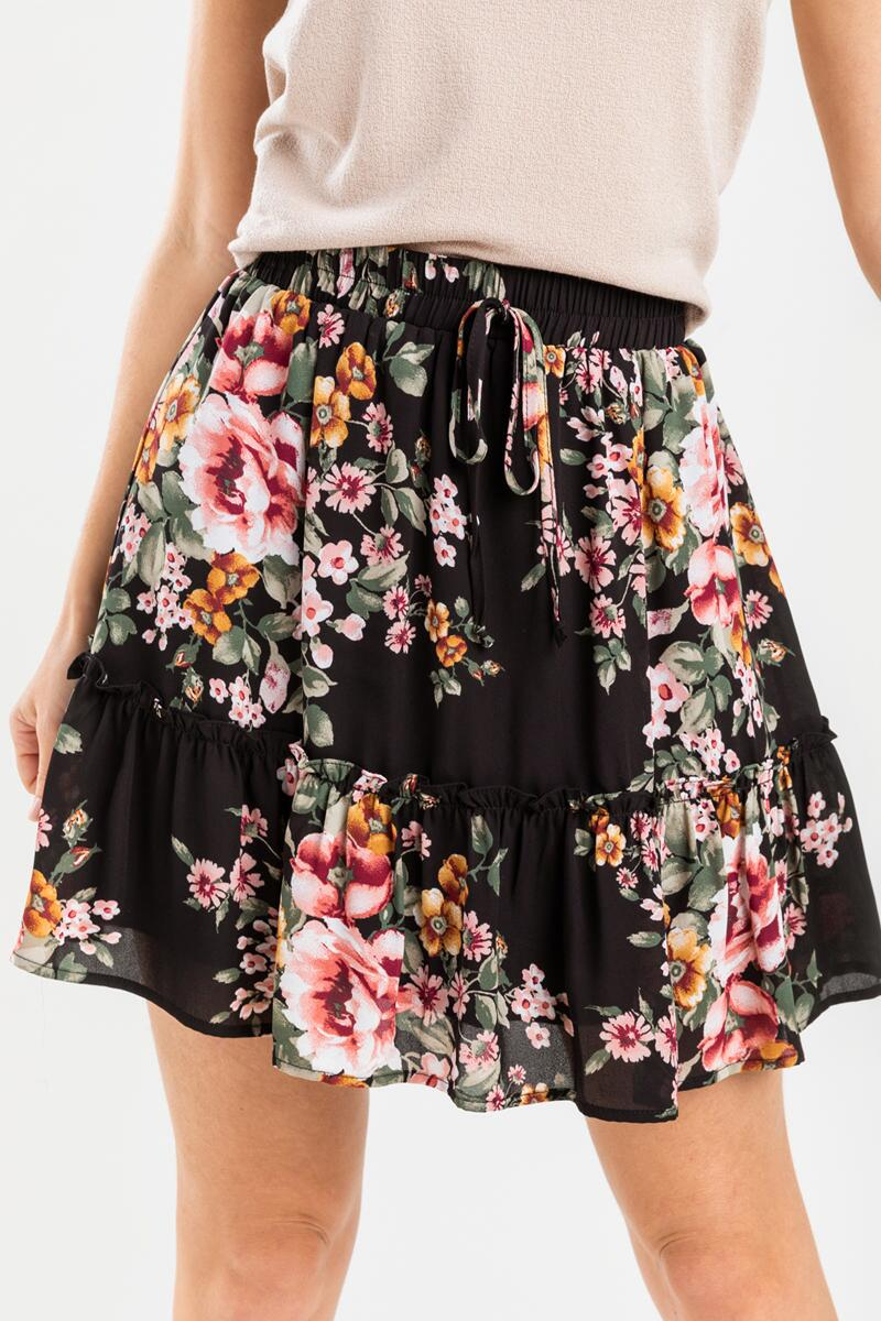 Raleigh Floral Mini Skirt-  blk-cl5