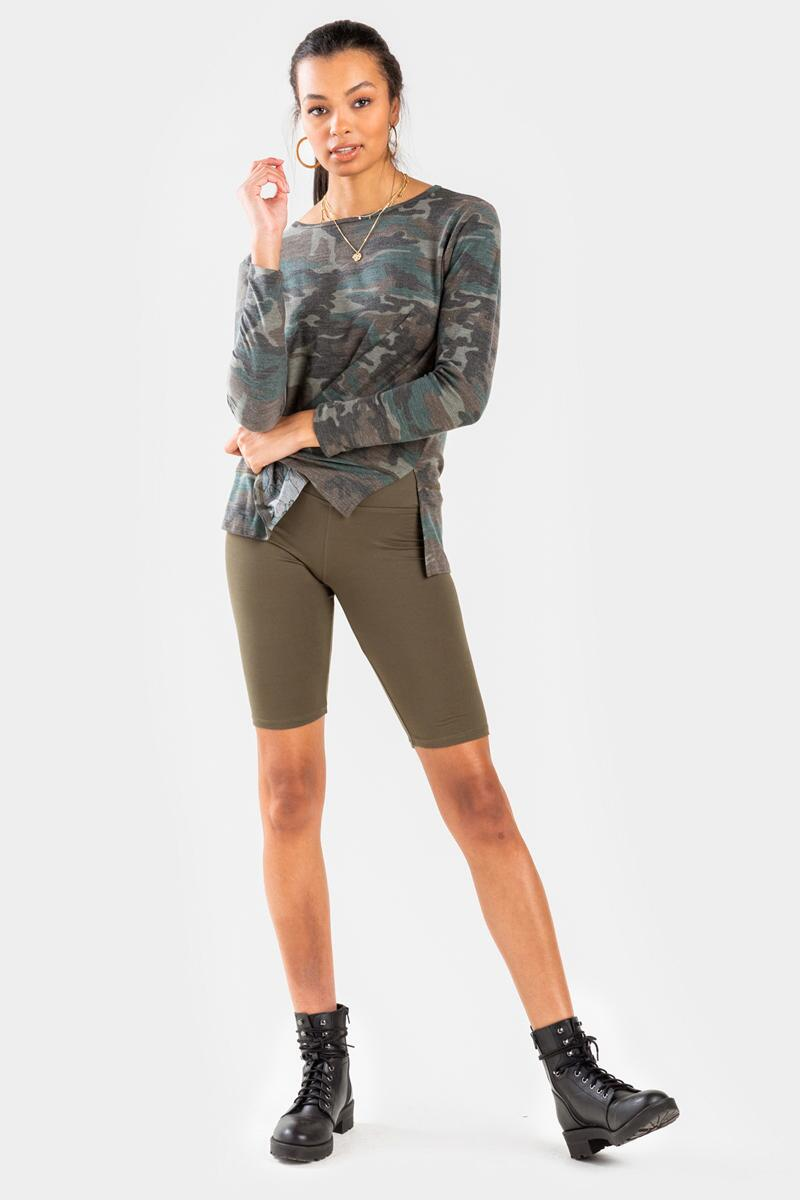 Macie High-Waisted Biker Shorts-Olive 2