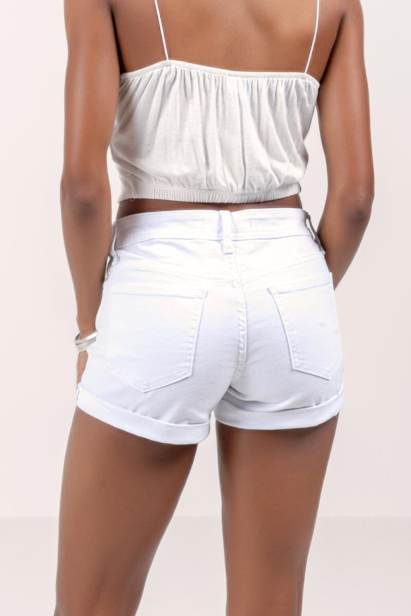 Callie Cuffed White Denim Shorts- White 2