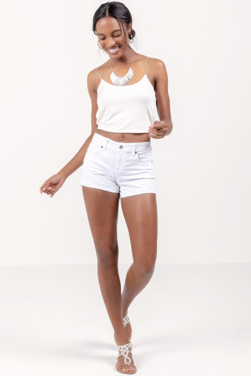 Callie Cuffed White Denim Shorts- White 4