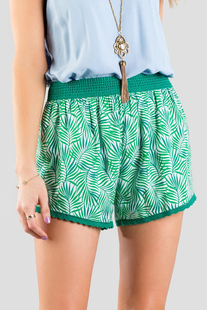 Delray Printed Shorts -  grn-cl