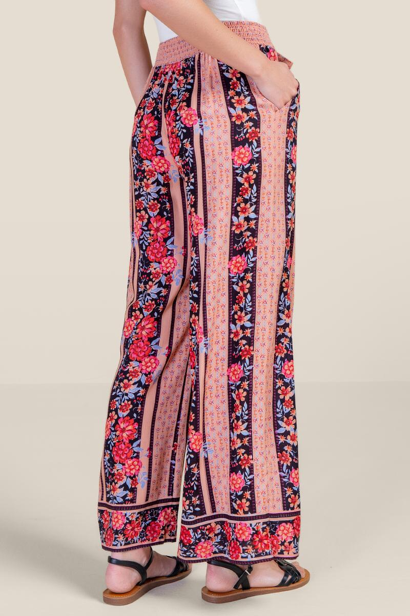 Camille Floral Palazzo Pants-  navy-cl2