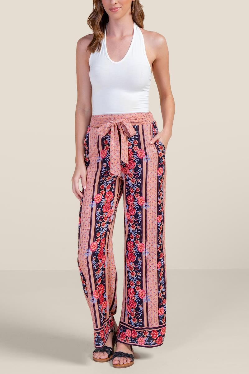 Camille Floral Palazzo Pants-  navy-cl4
