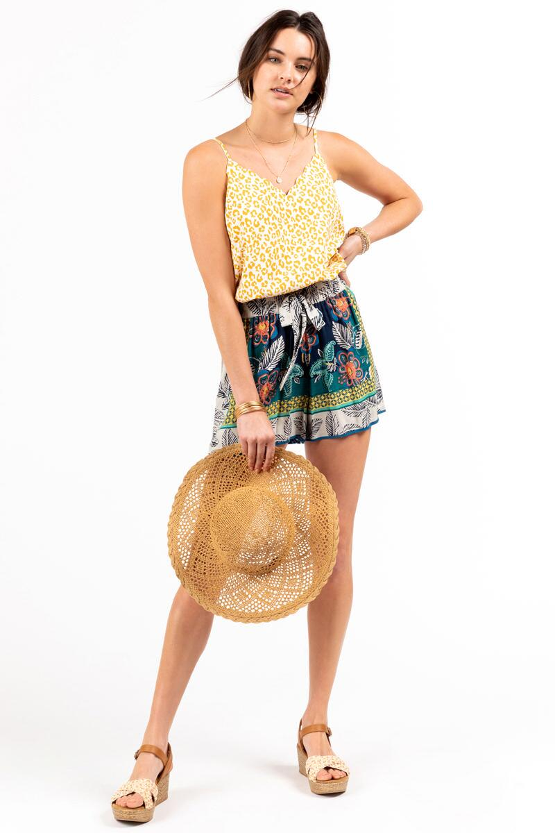 Rita Tie Front Tropical Shorts