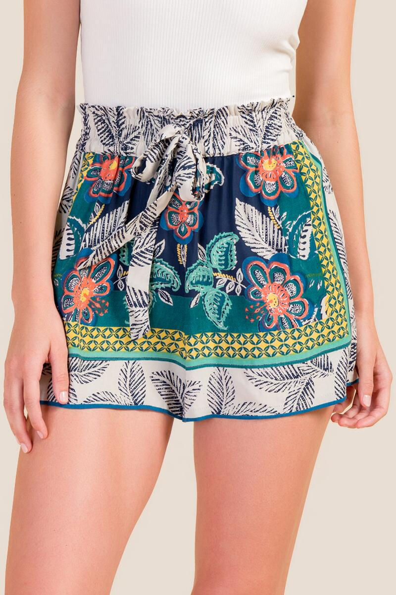 Rita Tie Front Tropical Shorts-  blue-cl4