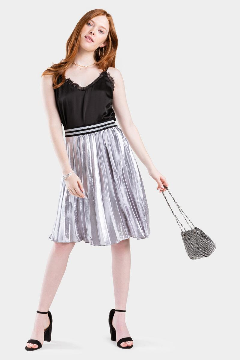 Raina Metallic Pleated Midi Skirt- Gray