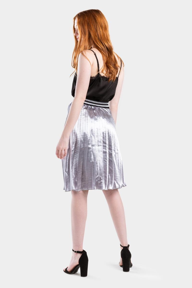 Raina Metallic Pleated Midi Skirt- Gray 2