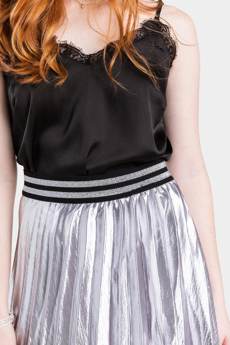 Raina Metallic Pleated Midi Skirt- Gray 4