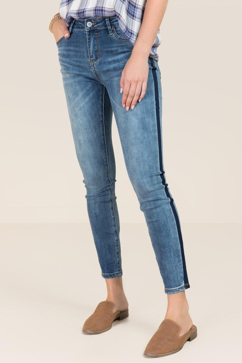 Harper Mid Rise Medium Contrast Shadow Jeans-  med-cl